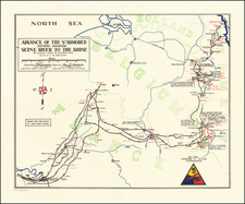 Netherlands, Belgium, Luxembourg, France and World War II Map By 669th Engineer Topographical Company