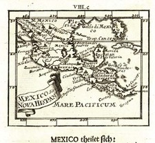 Texas, Mexico, Caribbean and Central America Map By Johann Ulrich Muller