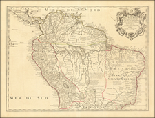 Colombia, Brazil, Guianas & Suriname, Paraguay & Bolivia, Peru & Ecuador and Venezuela Map By Guillaume De L'Isle