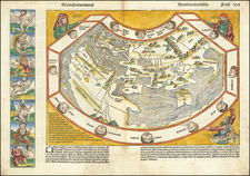 Secunda etas mundi  (World Map Before Discovery of America) By Hartmann Schedel