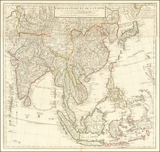 China, India, Southeast Asia, Philippines and Indonesia Map By Guillaume De L'Isle