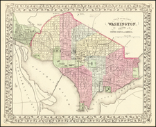 Washington, D.C. Map By Samuel Augustus Mitchell Jr.