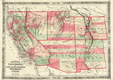Plains, Southwest, Rocky Mountains and California Map By Benjamin P Ward  &  Alvin Jewett Johnson