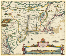 New England, New York City, New York State, Mid-Atlantic and Canada Map By Nicolaes Visscher I