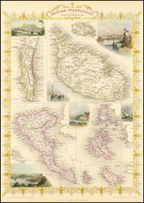 Greece, Mediterranean and Malta Map By John Tallis