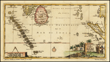 India, Indonesia, Malaysia and Other Islands Map By Pieter van der Aa
