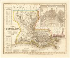 Neueste Karte von Louisiana . . . 1845 By Joseph Meyer  &  Carl Radefeld