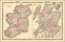 Scotland and Ireland Map By Alvin Jewett Johnson  &  Benjamin P Ward
