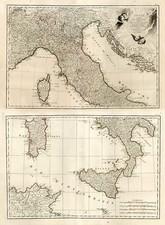 Europe, Italy, Mediterranean and Balearic Islands Map By Jean Lattré