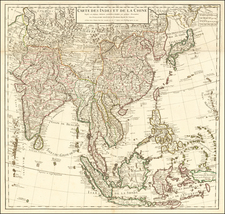 Asia, China, India, Southeast Asia, Philippines and Indonesia Map By Guillaume De L'Isle