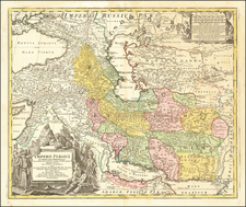 Central Asia & Caucasus and Persia Map By Johann Baptist Homann