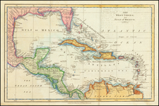 Caribbean and Central America Map By James Mac Gowan  &  William Davis