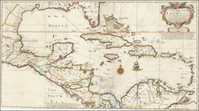 Florida, South, Texas, Mexico, Caribbean, Cuba, Hispaniola, Puerto Rico, Bahamas, Other Islands and Central America Map By John Thornton