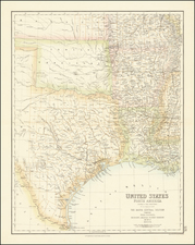 Louisiana, Arkansas, Texas, Kansas, Missouri and Oklahoma & Indian Territory Map By Archibald Fullarton & Co.