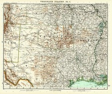 Texas and Plains Map By Adolf Stieler