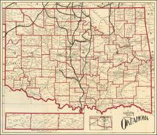 Oklahoma & Indian Territory Map By Santa Fe Railroad