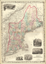 New England, Maine, Massachusetts, New Hampshire, Rhode Island and Vermont Map By Alvin Jewett Johnson  &  Browning