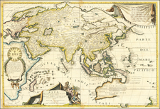 Asia and Australia Map By Vincenzo Maria Coronelli