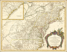 New York State, Mid-Atlantic, Kentucky, Tennessee, Southeast, Virginia, North Carolina and Ohio Map By Didier Robert de Vaugondy