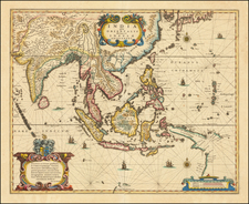 China, Southeast Asia, Philippines and Indonesia Map By Henricus Hondius