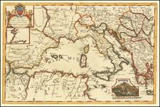 Europe and Mediterranean Map By Aubrey de la Motraye