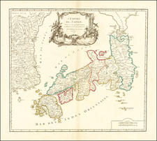 L'Empire du Japon divise en sept principales parties, et subdivise en soixante et six Royaumes . . . 1750  (Sea of Korea) By Gilles Robert de Vaugondy
