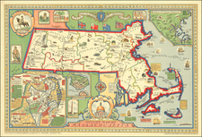 Picture Map of Massachusetts  By Harold Haven Brown