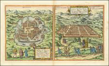 Mexico Regia et Celebris Hispaniae Novae Civitas (and) Cusco, Rengi Peru in Novo Orbe . . .  By Georg Braun  &  Frans Hogenberg