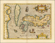 Iaponia (with the Island of Korea) By Jodocus Hondius