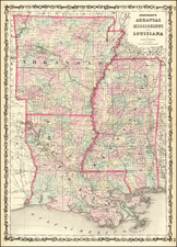 South, Louisiana, Mississippi and Arkansas Map By Alvin Jewett Johnson / Browning