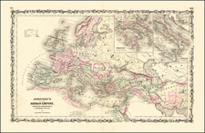 Europe, Italy and Mediterranean Map By Alvin Jewett Johnson  &  Browning