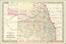 Kansas and Nebraska Map By Samuel Augustus Mitchell Jr.