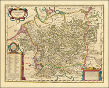 Netherlands, Germany, Austria, Poland, Hungary and Czech Republic & Slovakia Map By Johannes Blaeu