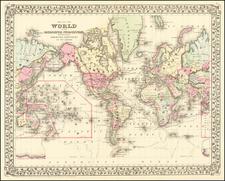 World Map By Samuel Augustus Mitchell Jr.