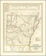 Neueste Karte von Arkansas mit seinen canaelen strassen & entfernungen der Hauptpunkte . .1845 By Joseph Meyer  &  Carl Radefeld