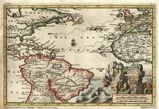 World and Atlantic Ocean Map By Pieter van der Aa