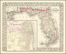 County Map of Florida  [with inset of Mobile] By Samuel Augustus Mitchell Jr.