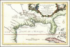 Florida, South, Southeast, Texas and Southwest Map By Nicolas de Fer