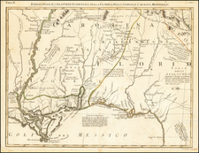South, Louisiana, Alabama, Mississippi, Tennessee, Southeast, Georgia and American Revolution Map By Antonio Zatta