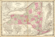 New York State Map By Alvin Jewett Johnson  &  Benjamin P Ward