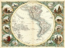 World, World and Western Hemisphere Map By John Tallis