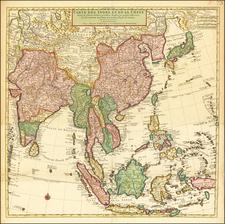 Carte Des Indes et de la Chine  Dressee sur plusieurs Relations particulieres Rectifees par quelques Observations Par Guillaume De L'Isle de l'Academie Royale des Sciences . . .  By Johannes Covens  &  Cornelis Mortier