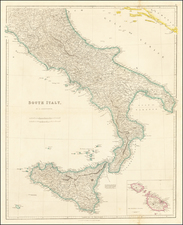 Southern Italy and Sicily Map By John Arrowsmith