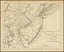 Mid-Atlantic, New Jersey and Pennsylvania Map By Gentleman's Magazine