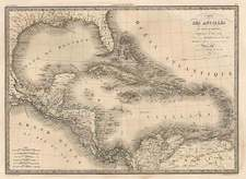 Southeast, Texas, Caribbean and Central America Map By Alexandre Emile Lapie