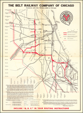 Chicago Map By Belt Railway Company of Chicago