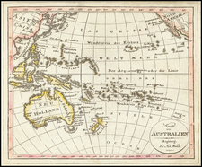 Pacific Ocean and Oceania Map By Johann Walch