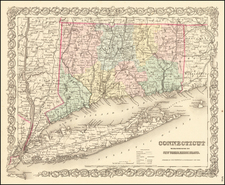 Colton's Connecticut with Portions of New York & Rhode Island By Joseph Hutchins Colton