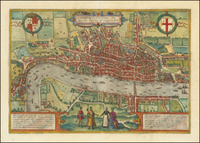 British Isles, England and London Map By Georg Braun  &  Frans Hogenberg