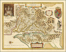 Maryland, Southeast and Virginia Map By Henricus Hondius